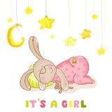 Tarjeta de llegada del bebé - conejito del bebé el dormir Foto de archivo libre de regalías