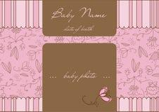 Tarjeta de llegada del bebé con el marco Fotos de archivo
