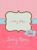 Tarjeta de llegada del bebé con el marco de la foto Fotos de archivo