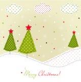 Tarjeta de los árboles de navidad Fotografía de archivo libre de regalías