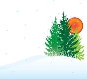 Tarjeta de los árboles del invierno Stock de ilustración