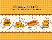 Tarjeta de los alimentos de preparación rápida Imágenes de archivo libres de regalías