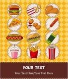 Tarjeta de los alimentos de preparación rápida Imagenes de archivo