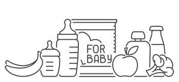 Tarjeta de los alimentos para niños con los elementos y los biberones de la comida Stock de ilustración
