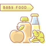 Tarjeta de los alimentos para niños con la inscripción Stock de ilustración