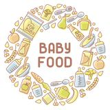 Tarjeta de los alimentos para niños Ejemplo linear del vector del estilo Libre Illustration