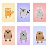 Tarjeta de los animales Tarjetas educativas para los niños Fotografía de archivo