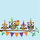 Tarjeta de los búhos del partido Imagen de archivo libre de regalías