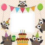 Tarjeta de los búhos del partido stock de ilustración