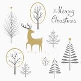Tarjeta de los ciervos de la Navidad Foto de archivo