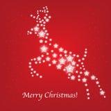Tarjeta de los ciervos de la Navidad de estrellas stock de ilustración