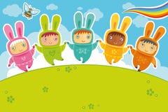 Tarjeta de los conejos Fotografía de archivo libre de regalías
