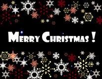 Tarjeta de los copos de nieve de la Feliz Navidad imagen de archivo libre de regalías