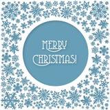 Tarjeta de los copos de nieve de la Feliz Navidad Fotos de archivo