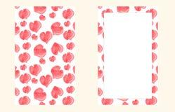 Tarjeta de los corazones de la acuarela Imagen de archivo
