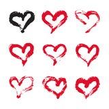 Tarjeta de los corazones de la tinta Imagenes de archivo