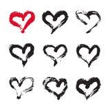 Tarjeta de los corazones de la tinta Fotos de archivo