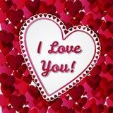 Tarjeta de los días de tarjetas del día de San Valentín del saludo con los corazones stock de ilustración