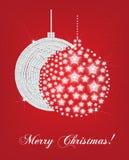 Tarjeta de los globos del árbol de navidad Fotos de archivo libres de regalías