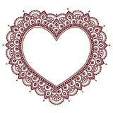 Tarjeta de los grettings del día del ` s de la tarjeta del día de San Valentín con el corazón Mehndi, modelo indio del tatuaje de ilustración del vector