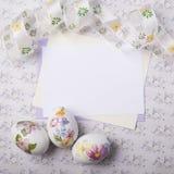 Tarjeta de los huevos de Pascua Fotografía de archivo libre de regalías