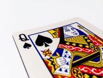 Tarjeta de los lucios/de las espadas de la reina con el fondo blanco Imagen de archivo libre de regalías