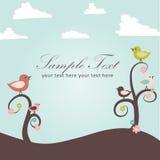 Tarjeta de los pájaros y de las flores Imágenes de archivo libres de regalías