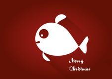 Tarjeta de los pescados de la Feliz Navidad Imagen de archivo