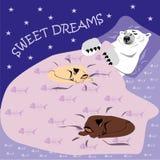 Tarjeta de los sueños dulces con el oso polar y los gatos stock de ilustración