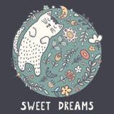 Tarjeta de los sueños dulces con un gato lindo el dormir en las plantas ilustración del vector