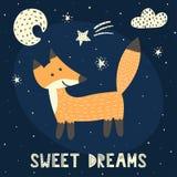 Tarjeta de los sueños dulces con un zorro lindo libre illustration