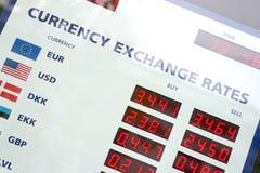 Tarjeta de los tipos de cambio de dinero en circulación Foto de archivo