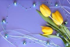 Tarjeta de los tulipanes - día de madres o foto común de Pascua fotografía de archivo