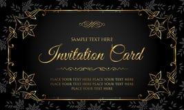 Tarjeta de lujo de la invitación del negro y del oro en estilo del vintage Fotos de archivo