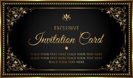 Tarjeta de lujo de la invitación en negro del vintage y estilo del oro Fotografía de archivo