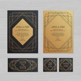 Tarjeta de lujo de la invitación o de felicitación de la boda con el orname geométrico libre illustration