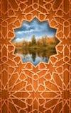 Tarjeta de madera, con la decoración del corte. Fotos de archivo libres de regalías