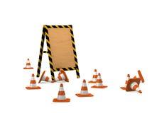 Tarjeta de madera con los conos del tráfico. Fotos de archivo libres de regalías