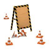 Tarjeta de madera con los conos del tráfico. Foto de archivo