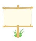 Tarjeta de madera de la información con la hierba Fotografía de archivo libre de regalías
