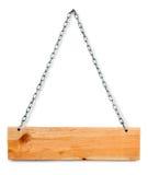 Tarjeta de madera de la muestra con los encadenamientos Foto de archivo