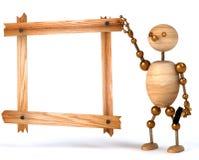 Tarjeta de madera del espacio en blanco del hombre Imagenes de archivo