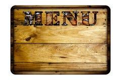 Tarjeta de madera del menú Imágenes de archivo libres de regalías