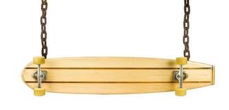 Tarjeta de madera del patín como muestra en blanco Fotos de archivo