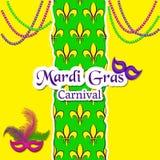 Tarjeta de Mardi Gras Carnival El modelo con la flor de lis o el lirio florece en el centro La inscripción, máscaras del carnaval libre illustration