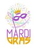 Tarjeta de Mardi Gras Party Mask Greeting Imagen de archivo