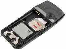 Tarjeta de memoria y tarjeta del sim imágenes de archivo libres de regalías