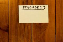 Tarjeta de mensaje con una nota Fotografía de archivo
