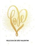 Tarjeta de modelo del brillo del corazón del amor del oro de la tarjeta del día de San Valentín Fotos de archivo