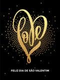 Tarjeta de modelo del brillo del corazón del amor del oro de la tarjeta del día de San Valentín Imágenes de archivo libres de regalías